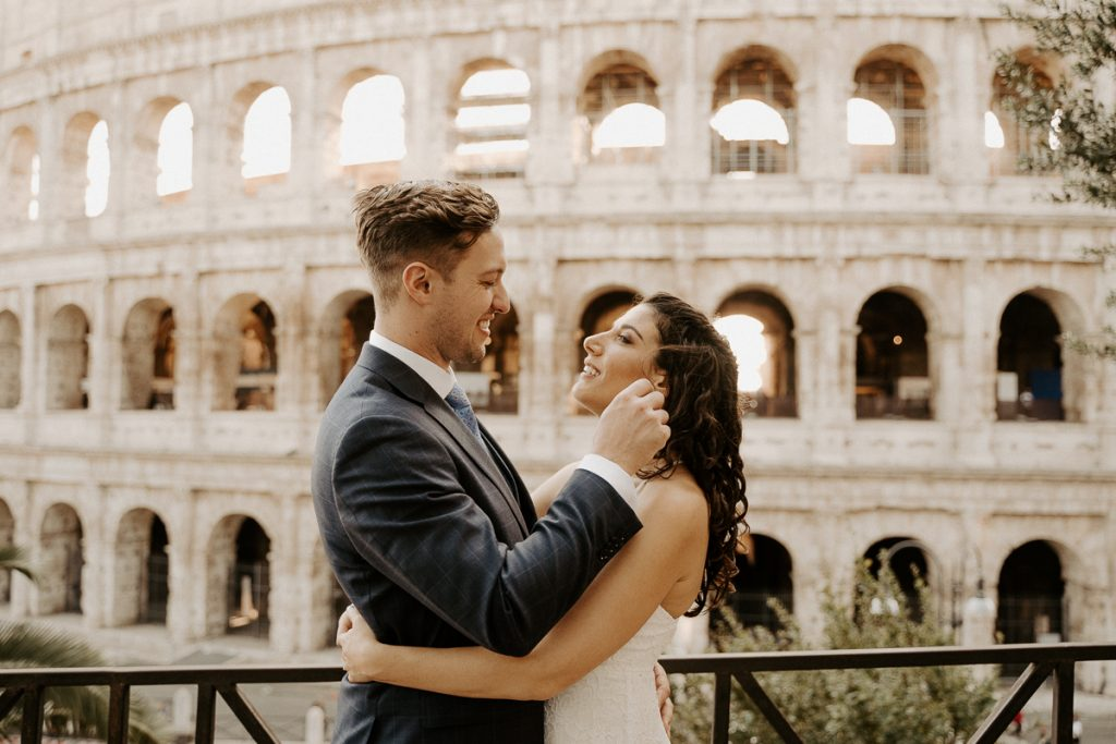 elopement Rome couple colosseum after wedding bouquet gown dancing happiness inspiring memories portrait photography